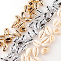 20Pcs 10-17mm Gold/Silver Plated Natural Color Shell Conch Beads Cowrie Tribal Jewelry Craft Accessories Without Holes DIY
