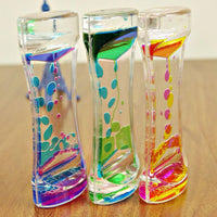 Double Color Floating Liquid Oil Acrylic Hourglass Statues Sculptures Motion Bubbles Visual Hourglass Timer Home Decors