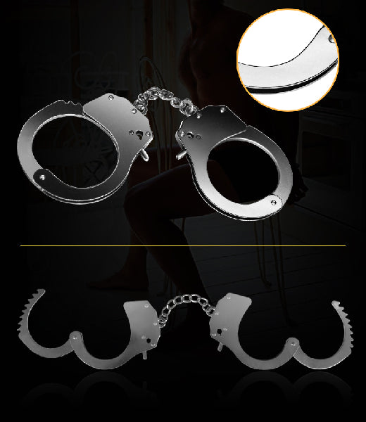 Fetish Pleasure Metal Hand Cuffs Silver