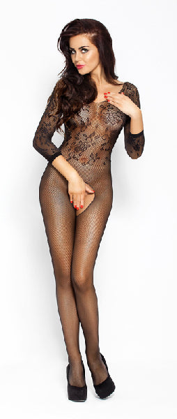 Bodysuit Fishnet With Open Crotch Black