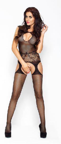 Bodystocking With Open Crotch And Cleavage Black