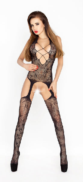 Bodystocking Open Crotch And Cleavage Black