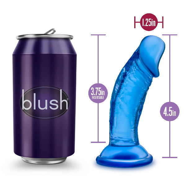 B Yours Sweet N Small Dildo with Suction Cup  4in Blue