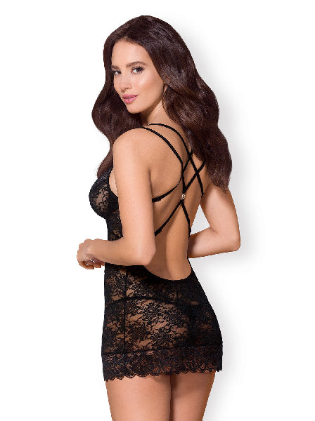Chemise & Thong 860 Blk