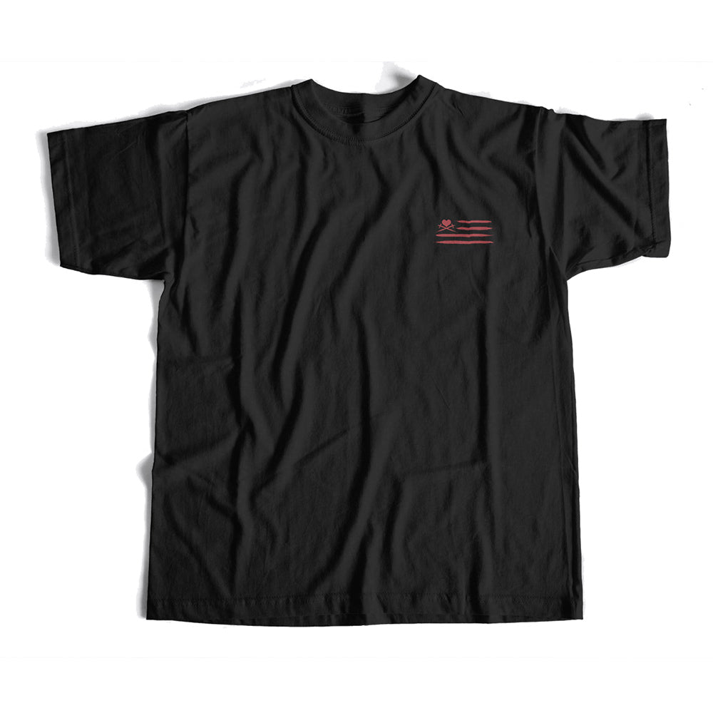 Land of the Free Mind Home of the Brave Heart T-shirt in black/red
