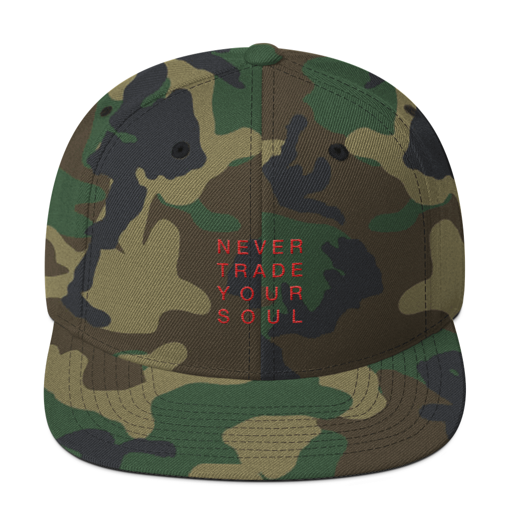 Never Trade Your Soul Block Snapback in Black/White