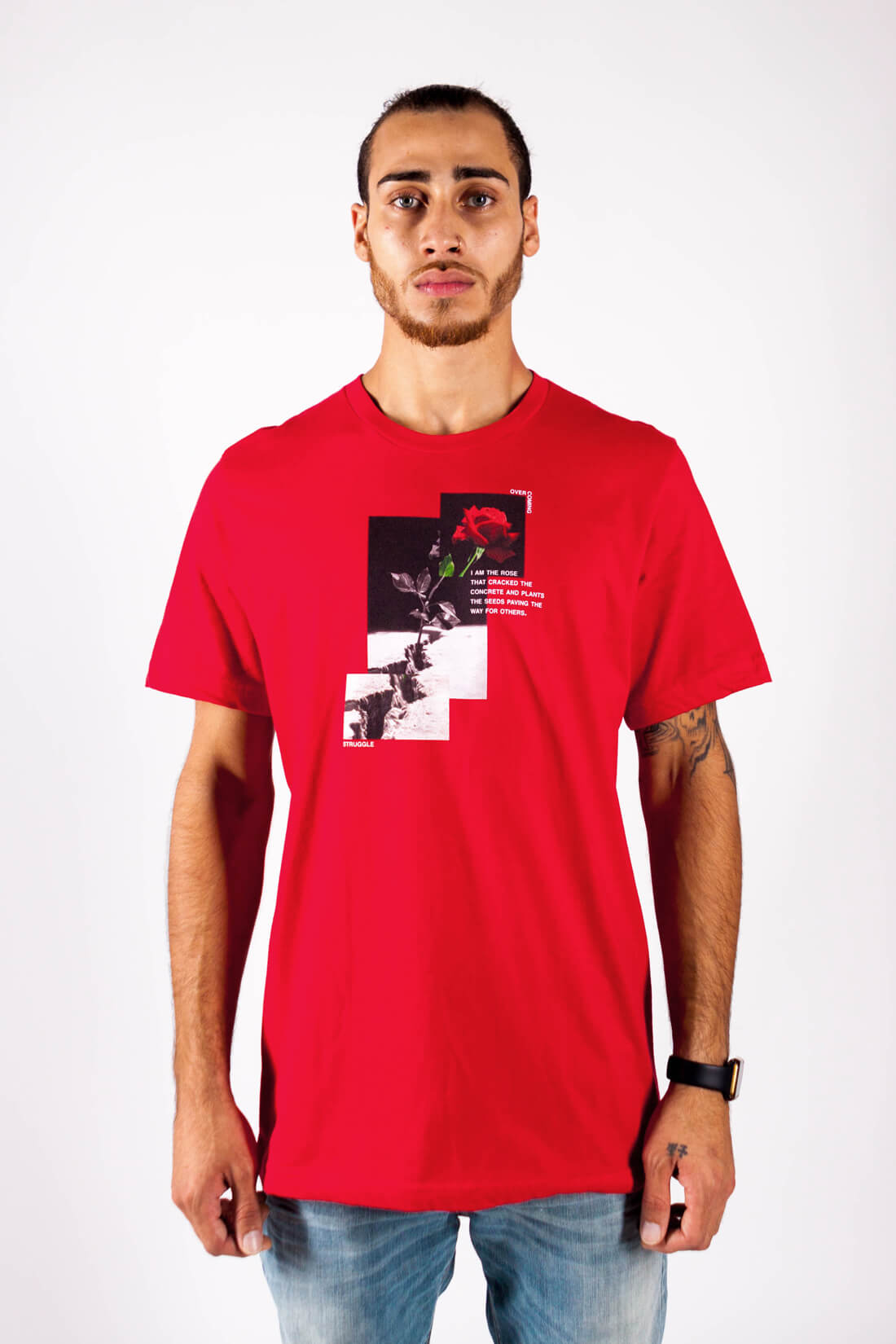 ROSE FROM THE CONCRETE TEE IN RED - PURPLE & CHROME