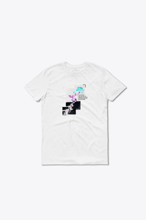 ROSE FROM THE CONCRETE TEE IN WHITE - PURPLE & CHROME