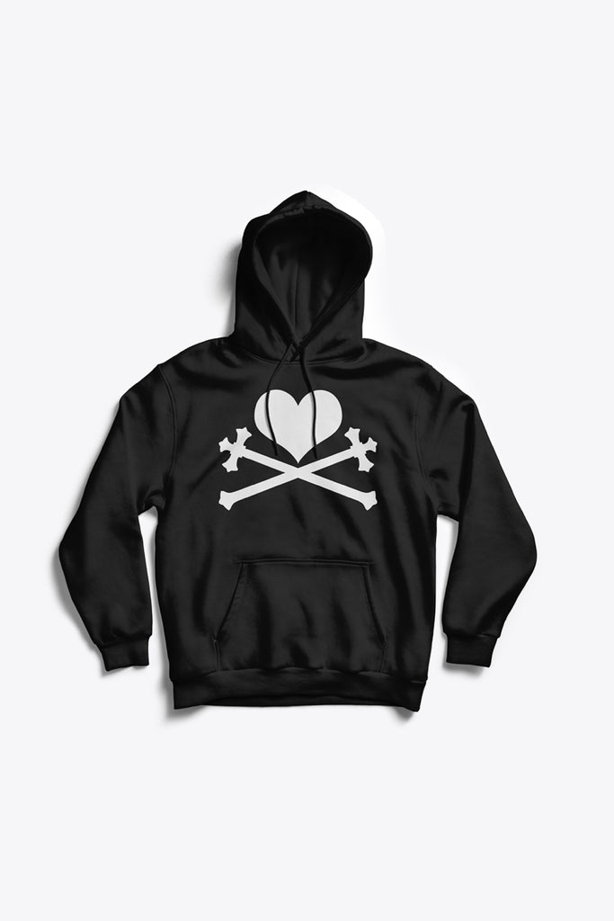 Heart and Crosses Hoodie - Black/White