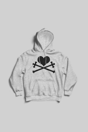Heart and Crosses Hoodie - Heather/Black