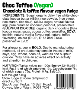 Choc Toffee Slab – Vegan Fudge (Ltd Edition)