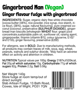 Gingerbread Man Slab – Vegan Fudge
