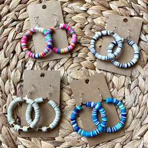 Multi Colored Heishi Bead Hoop Earrings