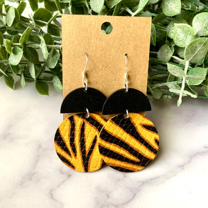 Tiger Circle Leather Earrings