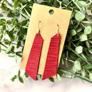 Maroon Palm Leaf Bar Leather Earrings