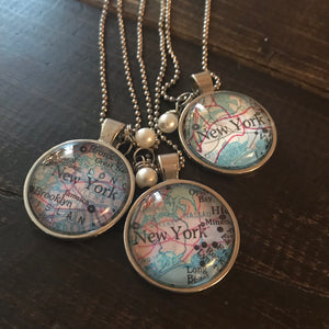 Necklace - Vintage Map Necklaces - CLEARANCE