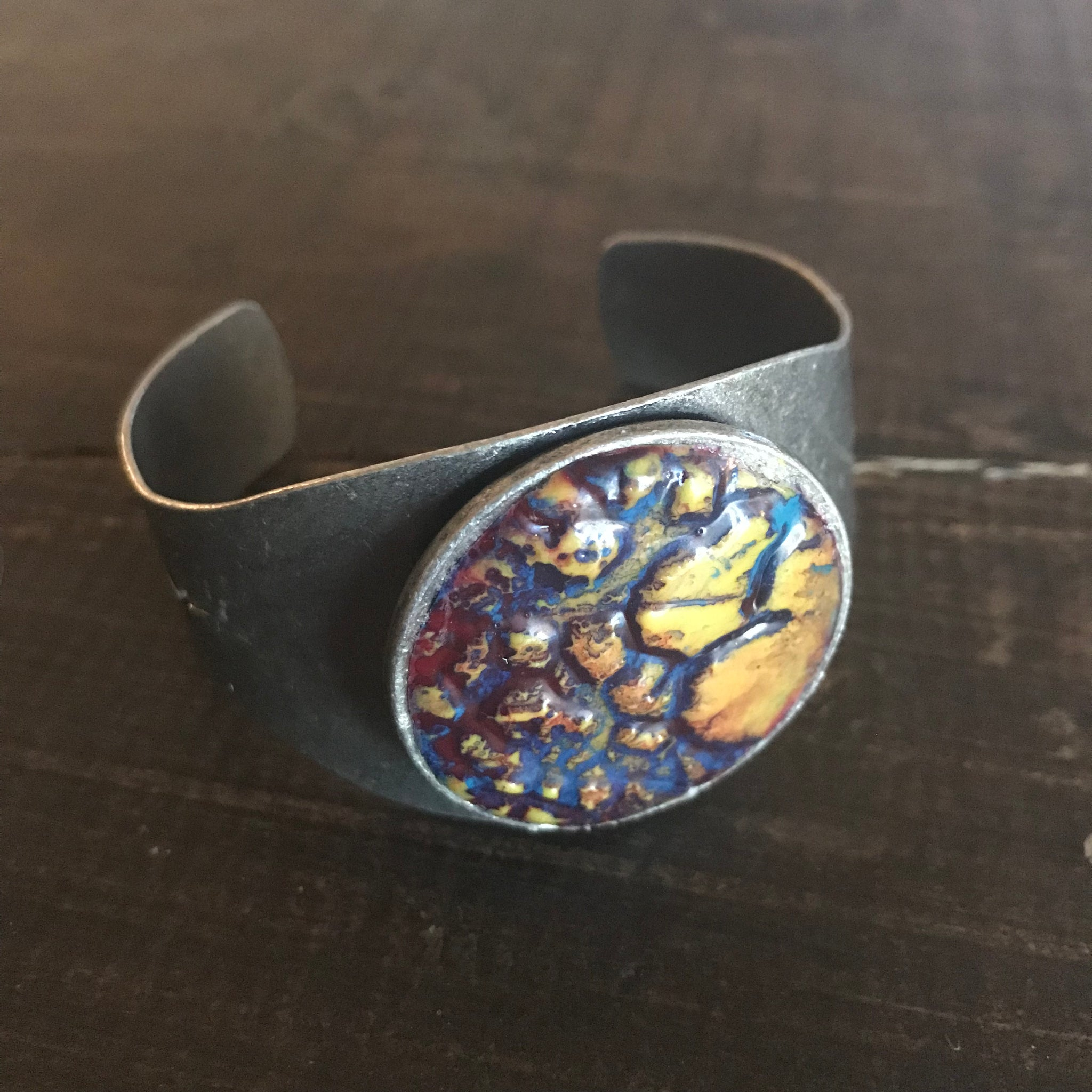 Bracelet - Hand-painted Clay Cuff Bracelet - CLEARANCE