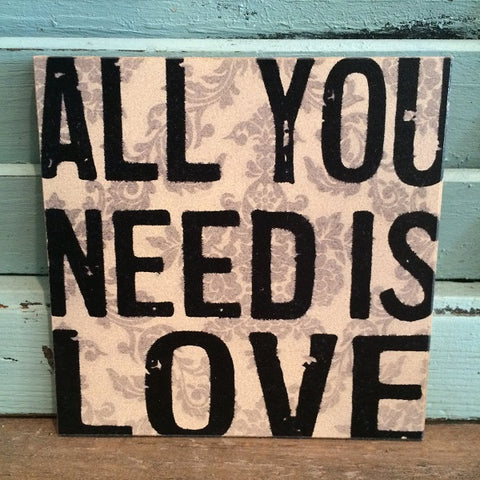 Coasters - All You Need Is Love - Set of 4 - CLEARANCE