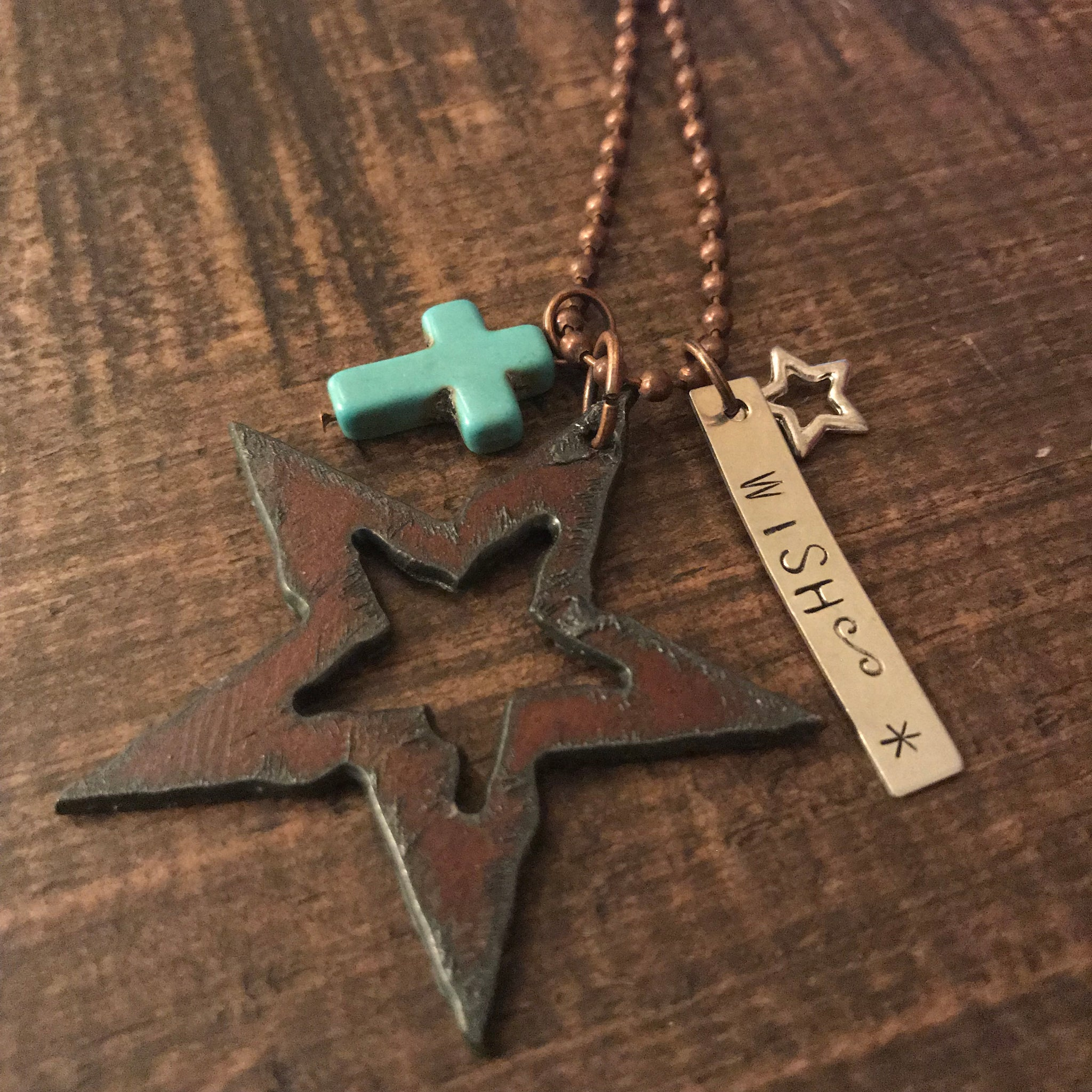 Necklace - Metal Star Charm Necklace - CLEARANCE