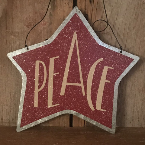 Metal Sign - Peace Star - CLEARANCE