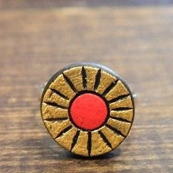 Ring - Painted Terra Cotta - Gold and Red - CLEARANCE
