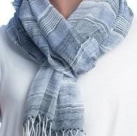 Scarves - Cotton Stripe - Blue - CLEARANCE