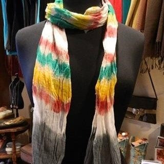 Scarves - Tie-Dye - Grey/Pink/Yellow - CLEARANCE