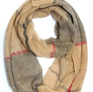 Scarves - Infinity Knit - Taupe Plaid - CLEARANCE