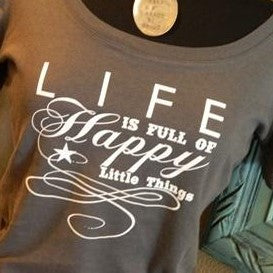 Women's Tee - Happy Little Things - Grey - CLEARANCE