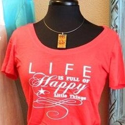 Women's Tee - Happy Little Things - Red - CLEARANCE