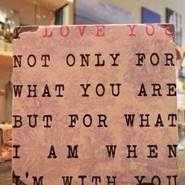 Wooden Sign - I Love You - Mini Block - CLEARANCE