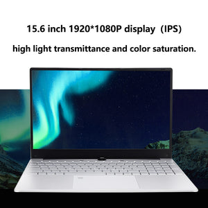 15.6 Inch Laptop Intel i3 8GB Notebook Windows 10 pro 1080P Fingerprint Unlock Full Size Layout Backlit Keyboard for Student
