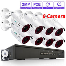 Load image into Gallery viewer, Zoohi 1080P Video Surveillance Kit Security Camera System Outdoor CCTV Camera Security System Kit POE Camera System IP66 Remote