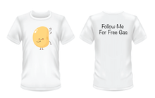 "Load image into Gallery viewer, Gildan Soft Style white t-shirt with a curious bean on the front and ""follow me for free gas"" written in black on the back"