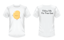 "Load image into Gallery viewer, Gildan Soft Style white t-shirt with a yellow bean on the front and ""follow me for free gas"" written in black on the back"