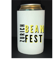 Load image into Gallery viewer, Bean Festival Drink Koozie, yellow and black logo