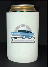 Load image into Gallery viewer, Bean Festival Drink Koozie, light blue car logo