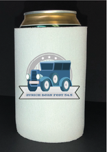 Load image into Gallery viewer, Bean Festival Drink Koozie, blue car logo