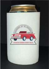Load image into Gallery viewer, Bean Festival Drink Koozie, red car logo