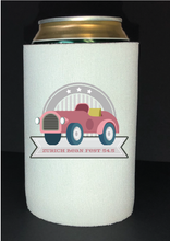 Load image into Gallery viewer, Bean Festival Drink Koozie, pink car logo