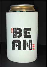 Load image into Gallery viewer, Bean Festival Drink Koozie, black and red logo