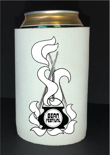 Bean Festival Drink Koozie, black and white logo