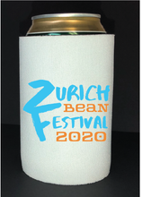 Load image into Gallery viewer, Bean Festival Drink Koozie, blue and orange logo