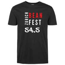 Load image into Gallery viewer, Gildan Soft Style black t-shirt Bean Festival design, red and white logo