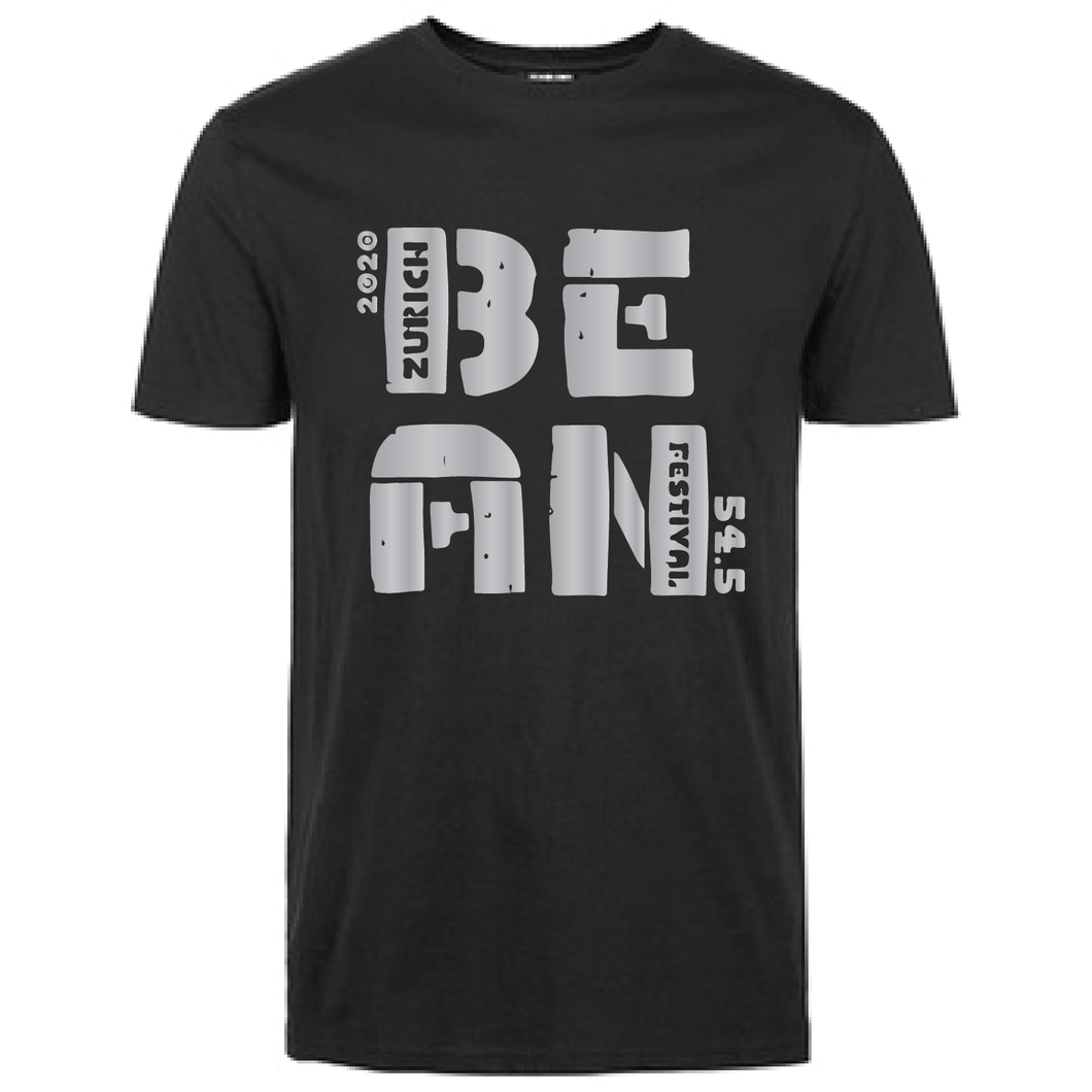 Gildan Soft Style black t-shirt  Bean Festival designs, grey logo