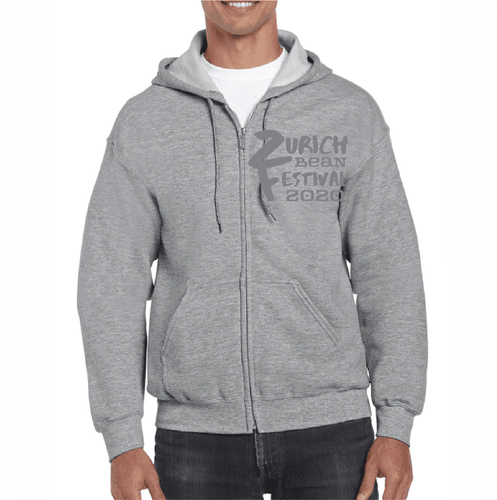Bean Fest Zippered Hoodie with Pockets,Grey/Grey Logo