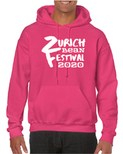 Load image into Gallery viewer, Gildan Sweater with Zurich Bean Festival graphic in bright pink