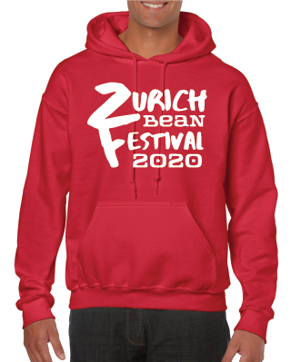 Gildan Sweater with Zurich Bean Festival graphic in cherry red