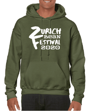 Load image into Gallery viewer, Gildan Sweater with Zurich Bean Festival graphic in military green