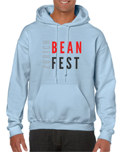 Load image into Gallery viewer, Gildan Sweater with Zurich Bean Festival graphic in light blue